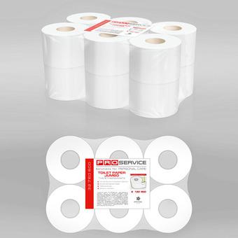 Бумага туалетная PRO service целлюлозная 2-х слойная 120 м. с краевым тиснением 12 рул. (1уп/ящ)
